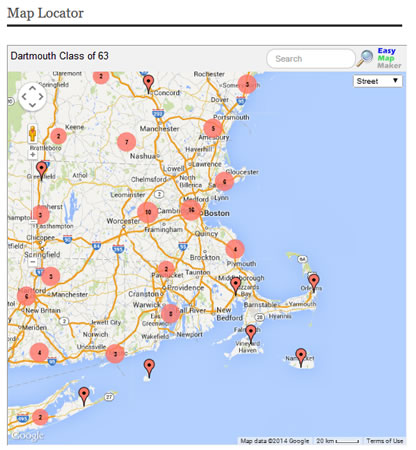 Alumni Volunteers Google Map Classmate Locator - Map a list of addresses