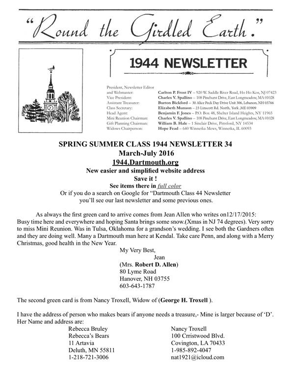 Alumni Volunteers - 1940s Newsletters